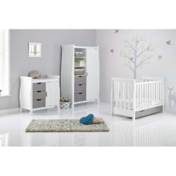 Obaby Stamford Mini Sleigh 3 Piece Room Set - White with Taupe Grey