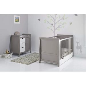 Obaby Stamford Sleigh 2 Piece Room Set - Taupe Grey with White