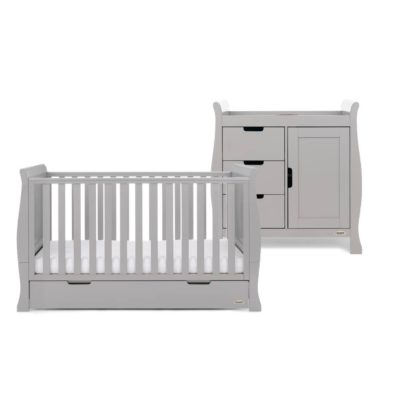 Obaby Stamford Sleigh 2 Piece Room Set - Warm Grey