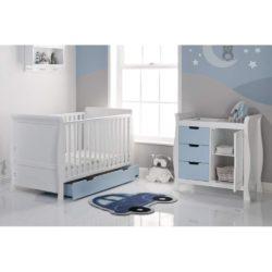Obaby Stamford Sleigh 2 Piece Room Set - White with Bonbon Blue 2