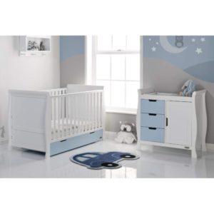 Obaby Stamford Sleigh 2 Piece Room Set - White with Bonbon Blue