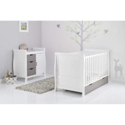 Obaby Stamford Sleigh 2 Piece Room Set - White with Taupe Grey