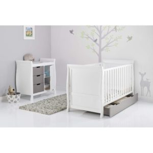 Obaby Stamford Sleigh 2 Piece Room Set - White with Taupe Grey 4