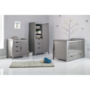 Obaby Stamford Sleigh 3 Piece Room Set - Taupe Grey