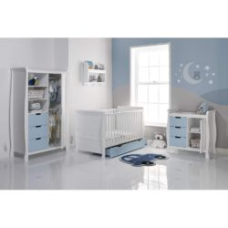 Obaby Stamford Sleigh 3 Piece Room Set - White with Bonbon Blue 2
