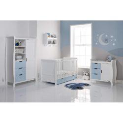 Obaby Stamford Sleigh 3 Piece Room Set - White with Bonbon Blue