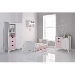 Obaby Stamford Sleigh 3 Piece Room Set - White with Eton Mess 3