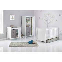 Obaby Stamford Sleigh 3 Piece Room Set - White with Taupe Grey 2