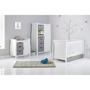 Obaby Stamford Sleigh 3 Piece Room Set - White with Taupe Grey