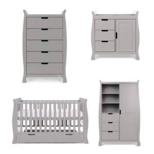 Obaby Stamford Sleigh 4 Piece Room Set - Warm Grey