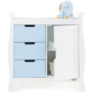 Obaby Stamford Sleigh Changing Unit - White with Bonbon Blue 2