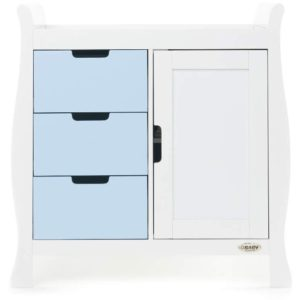 Obaby Stamford Sleigh Changing Unit - White with Bonbon Blue