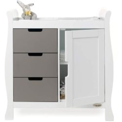 Obaby Stamford Sleigh Changing Unit - White with Taupe Grey 2