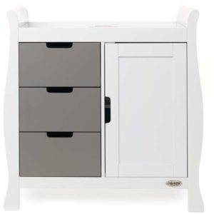Obaby Stamford Sleigh Changing Unit - White with Taupe Grey