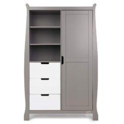 Obaby Stamford Sleigh Double Wardrobe - Taupe Grey with White