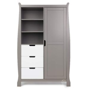 Obaby Stamford Sleigh Double Wardrobe - Taupe Grey with White