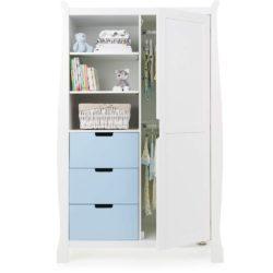 Obaby Stamford Sleigh Double Wardrobe - White with Bonbon Blue 2