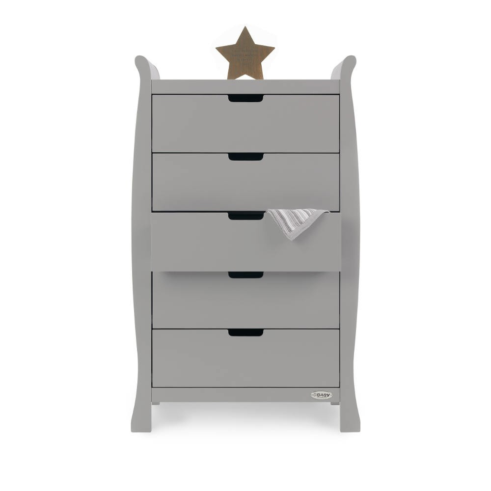 Warm Grey Obaby Stamford Sleigh Tall Chest of Drawers