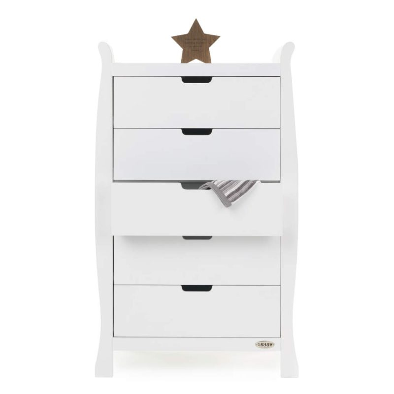 31a3498987b3 Obaby Stamford Sleigh Tall Chest of Drawers - White - Smart Kid Store