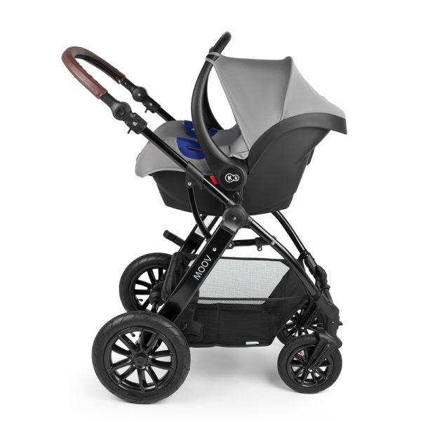 kinderkraft 3 in 1 travel system 0+ car seat on frame grey