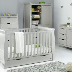 obaby stamford classic sleigh nursery room set warm grey