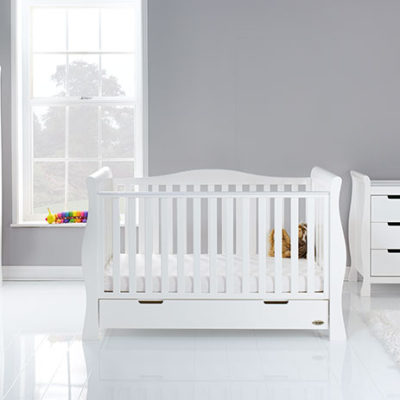 obaby stamford luxe 3 piece nursery room set in white