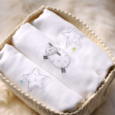 Silver Cloud Counting Sheep Muslins 3 Pack