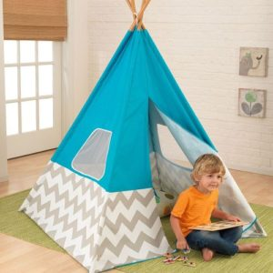 teepee_-_turquoise_with_gray_white_chevronKIDKRAFT