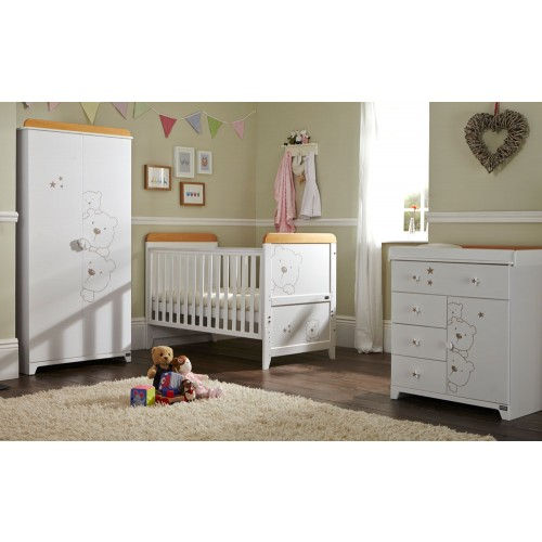 tutti bambini 3 bears 3 piece nursery room set in white