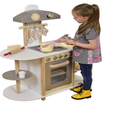 Liberty House Toys - Breakfast Bar Wooden Toy Kitchen with accessories2