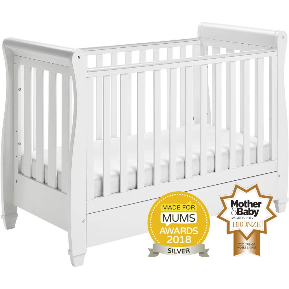 - Babymore Eva Dropside Sleigh Cot Bed - White - Smart Kid Store