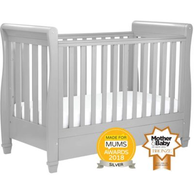 babymore sleigh eva cot bed pebble grey dropside