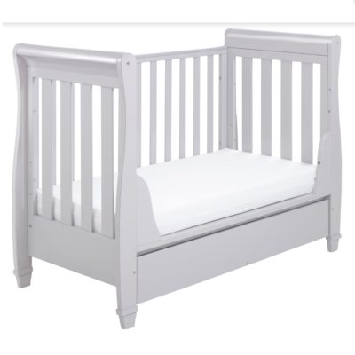 Babymore Eva Dropside Sleigh Cot Bed - Grey