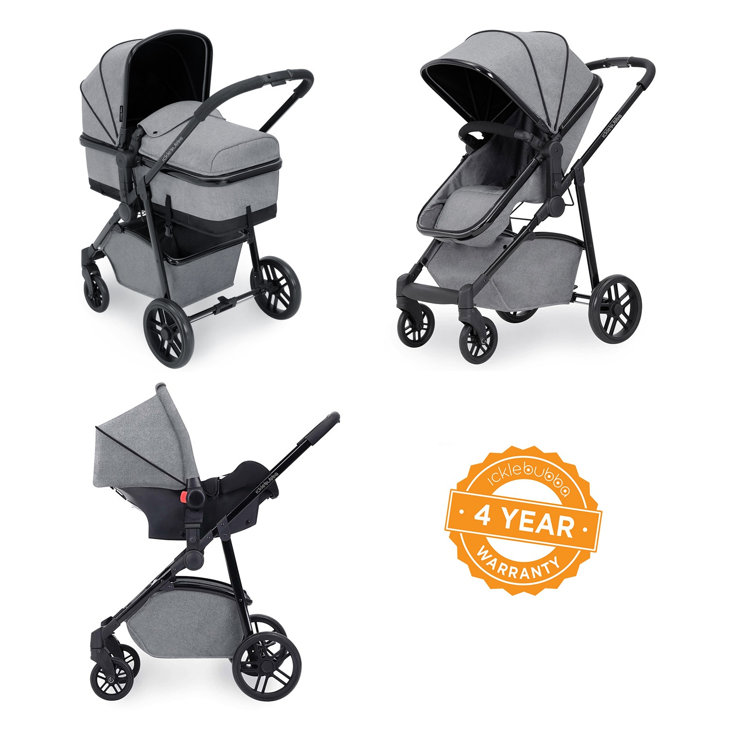 8665e23ea50c6 Ickle Bubba Moon 3-in-1 Travel System - Space Grey - Smart Kid Store
