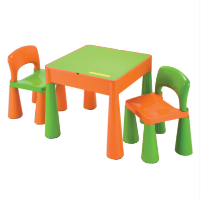 Liberty House Toys - 5 in 1 Multipurpose Activity Table & 2 Chairs – ORANGE & GREEN