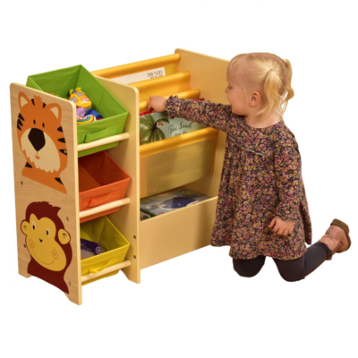 Liberty House Toys - Jungle Magazine Shelf with 3 non-woven bins