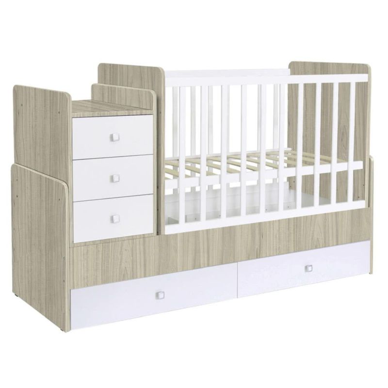 Kudl, Cotbed Simple 1100 with Drawer Unit ElmWhite