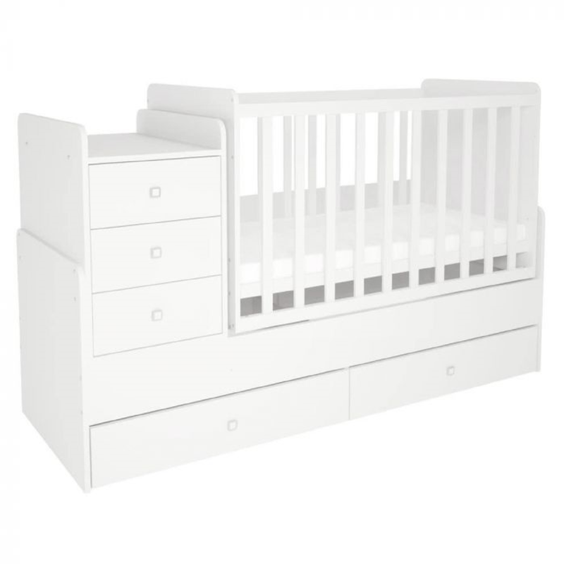Kudl, Cotbed Simple 1100 with Drawer Unit - White