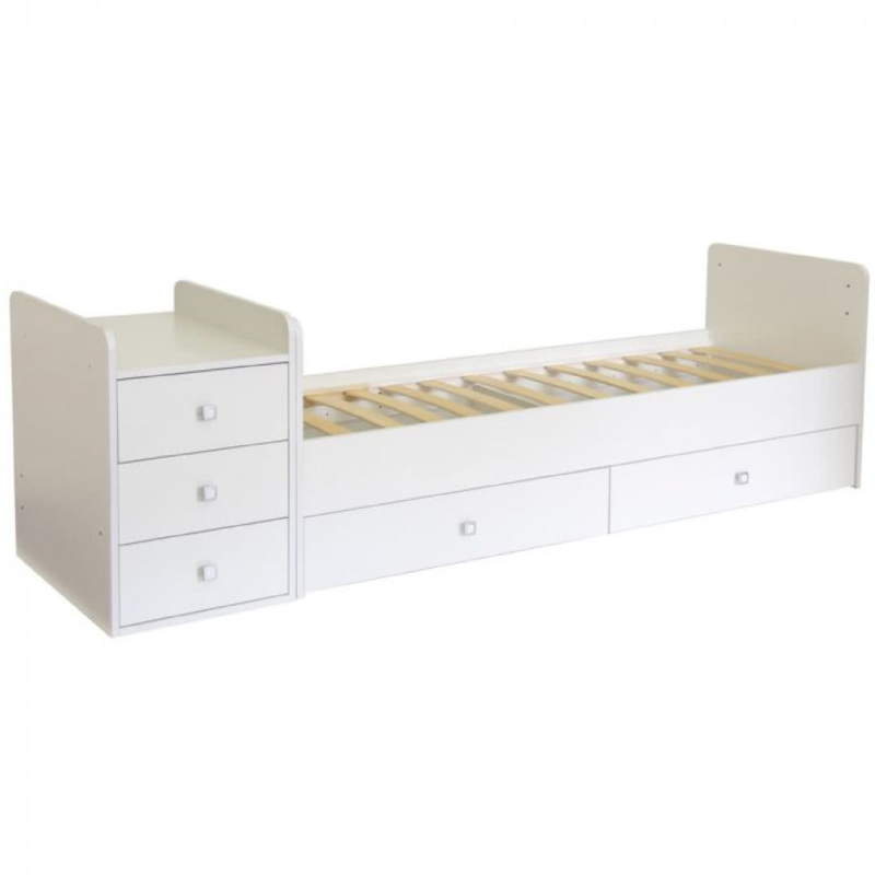 Kudl, Cotbed Simple 1100 with Drawer Unit - White2
