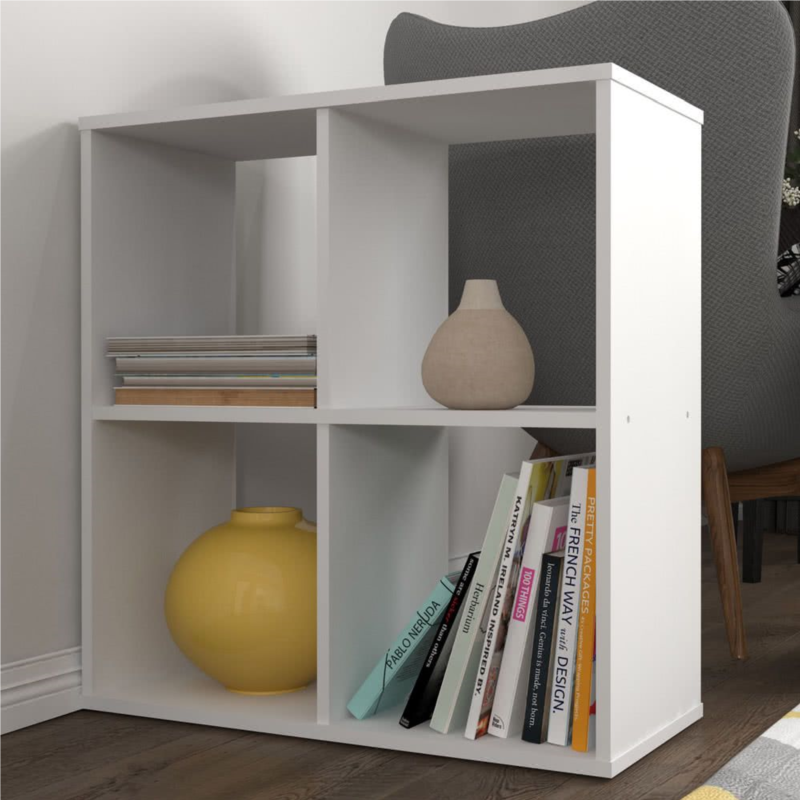 Kudl Home, Smart 4 Cubic Section Shelving Unit - White