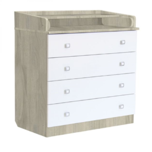 Kudl Kids, 4 Drawer Unit 1580 With Changing Board and Storage - ElmWhite