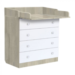 Kudl Kids, 4 Drawer Unit 1580 With Changing Board and Storage - ElmWhite1
