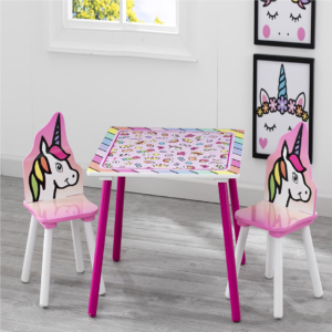 RAINBOW TABLE AND CHAIRS UNICORN