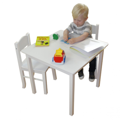 White Wooden Table & 2 Chair Set1