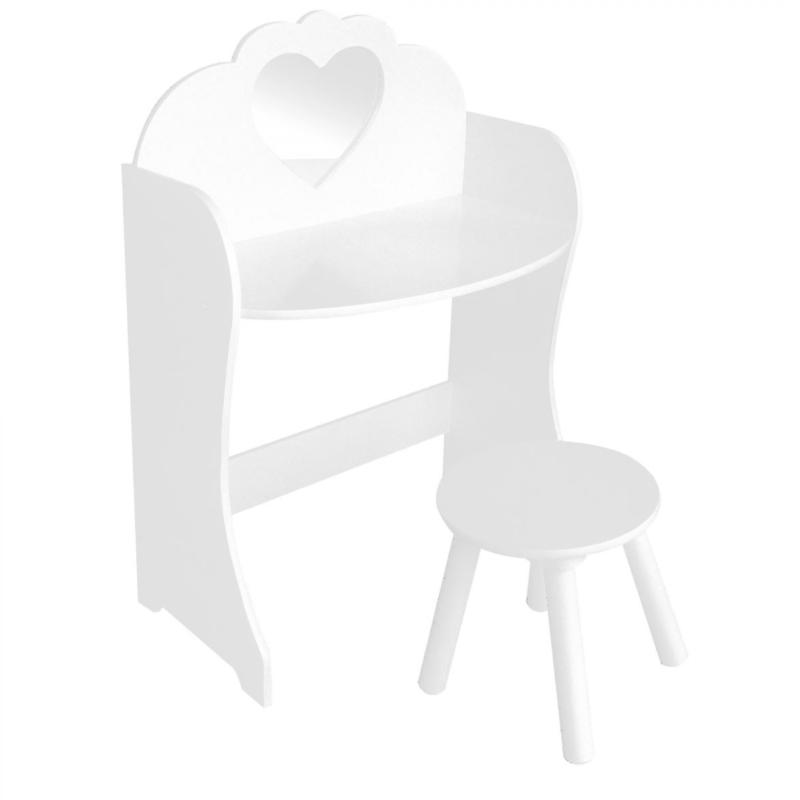 Liberty House Toys - White Wooden Dressing Table & Stool Set