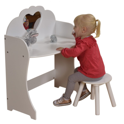 Liberty House Toys - White Wooden Dressing Table & Stool Set