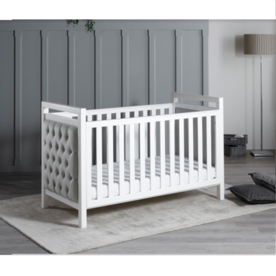 Babymore Deluxe Velvet Cot Bed and Mattress Set - White/Grey