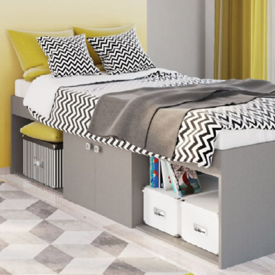 Kidsaw Grey Low Single 3ft Cabin Bed