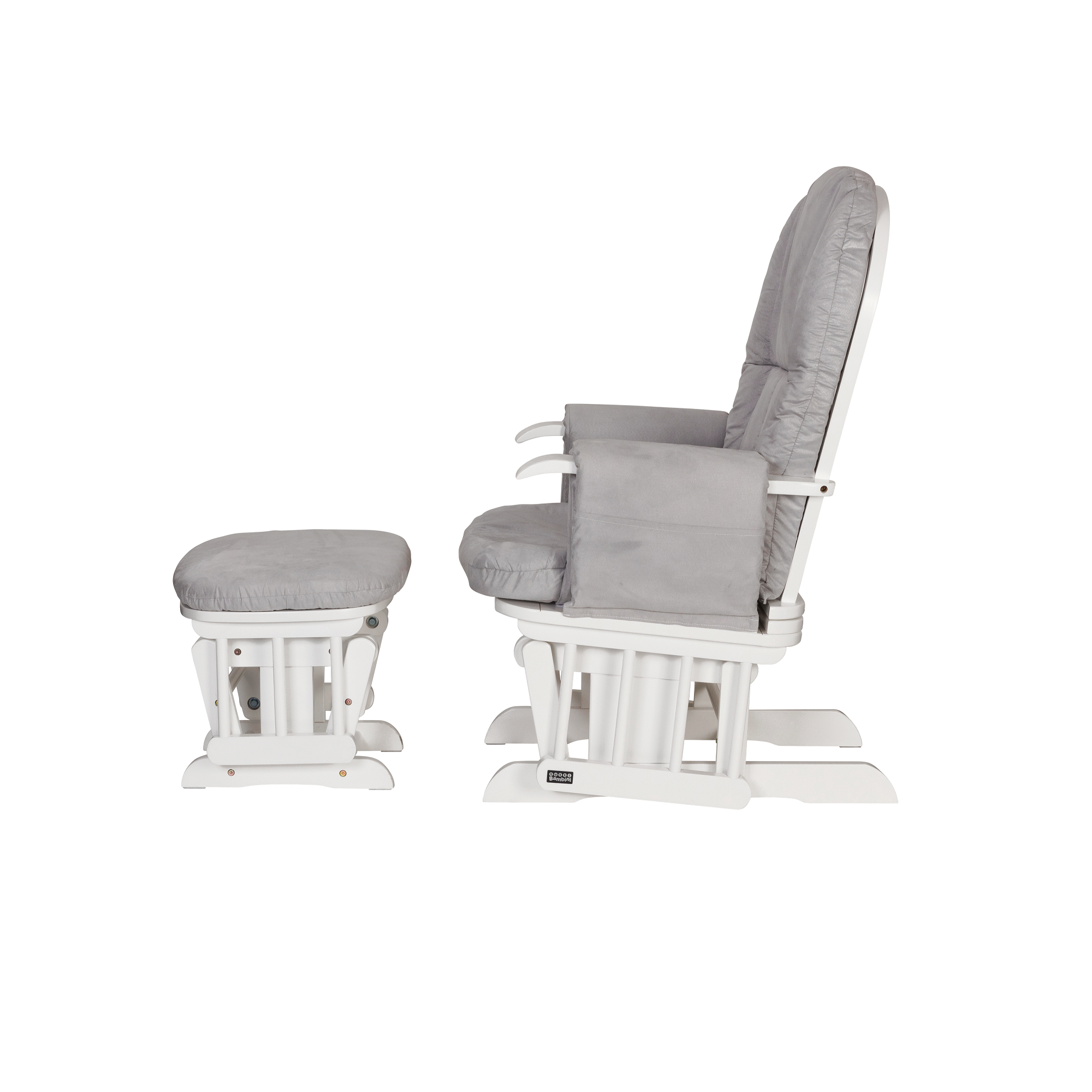 Tutti Bambini Gc35 Reclining Glider Chair Stool White With Grey Cushions
