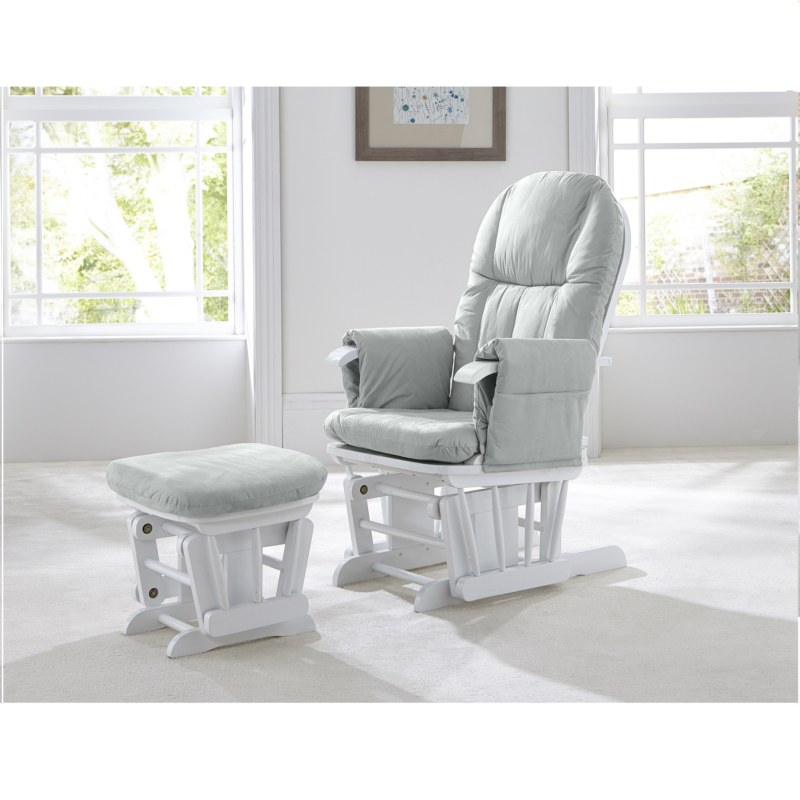 Tutti Bambini GC35 Reclining Glider Chair & Stool - White with Grey Cushions